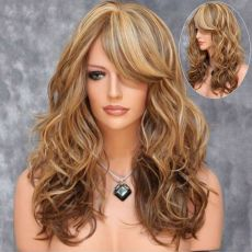"""Long Wig with Fringe & curled ends 20""""  50CM BROWN WITH BLOND TIPS"""