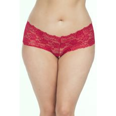 Lace Crotchless Boyshort w/ Elastic Detail-Red-3X/4X