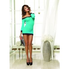 Long Sleeved Tunic & Thong Turquoise Black (D)