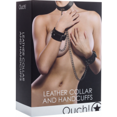 Shots OUCH Leather Collar And Handcuffs (Black)