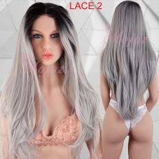 Long Lace Front Wig GREY